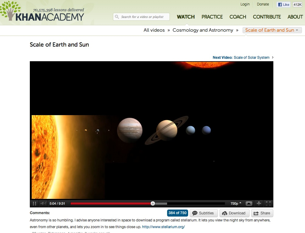 Video: Scale of Earth and Sun | Recurso educativo 40274