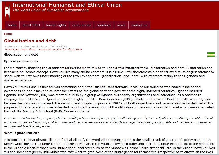 Globalisation and debt | International Humanist and Ethical Union | Recurso educativo 89880