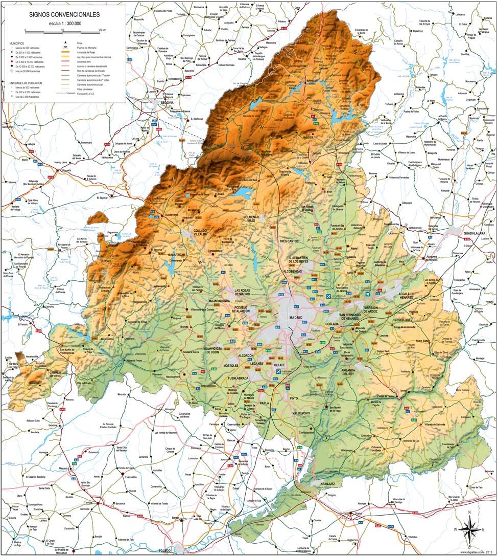 Mapa Fisico Sierras Y Cordilleras Comunidad De Madrid Recurso